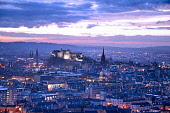 Edinburgh City skyline at dusk from Salisbury Crags looking towards a floodlit Edinburgh Castle.Picture Credit : Chris Robson / Scottish Viewpoint  Tel: +44 (0) 131 622 7174 E-Mail : info@scottishview... Public 2012,autumn,dusk,evening,atmospheric,attraction,tourist,visitor,lights