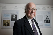 Professor Peter Higgs, who theorized the existence of a subatomic particle which was named the Higgs Boson. On 6 July 2012, Edinburgh University announced that a new centre, The Higgs Centre for Theor... Public, NMR 2012,God,particle,British,Physicist,mass,scientist,science,LHC,Large,Hadron,Collider,Cern,education,study,tertiary