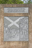 Plaque at the Athelstaneford Saltire Heritage Centre, Athelstaneford, East Lothian. Picture Credit : John Pringle / Scottish Viewpoint   Tel: +44 (0) 131 622 7174  E-Mail : info@scottishviewpoint.com... Public 2012,summer,sunny,attraction,visitor,tourist,church,yard,churchyard