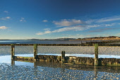 The view along the coast and across the Firth of Tay from Monifieth towards Tayport in Fife, Angus. Picture Credit : Keith Fergus / Scottish Viewpoint   Tel: +44 (0) 131 622 7174  E-Mail : info@scotti... Public 2012,autumn,sunny,Tay,Estuary,River,coast,coastal,coastaline,beach,sand,sandy,water,groyne,groynes,defence