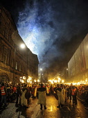 The torchlight procession through the streets of Edinburgh to start Edinburgh's hogmanay celebrations. Picture Credit : Andrew Wilson / Scottish Viewpoint   Tel: +44 (0) 131 622 7174  E-Mail : info@sc... Public, NMR 2012,winter,event,christmas,xmas,spectacle,costume,costumes,fire,torch,torches,flames,viking,festival,fireworks