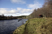 A fishing hut on the River Spey at Grantown-on-Spey, Highlands of Scotland. Picture Credit : Iain McLean / Scottish Viewpoint  Tel: +44 (0) 131 622 7174  E-Mail : info@scottishviewpoint.com  Web: www.... Public 2013,winter,sunny,activity,activities,angler,anglers,angling,fish,fishing,bothy,water,highland