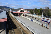 The station at Aviemore, Highlands of Scotland. Picture Credit : Andrew Wilson / Scottish Viewpoint  Tel: +44 (0) 131 622 7174  E-Mail : info@scottishviewpoint.com  Web: www.scottishviewpoint.com This... Public 2013,spring,sunny,highland,transport,travel,travelling,rail,railway,scotrail,train,trains,platform,empty,sign,signage,gaelic