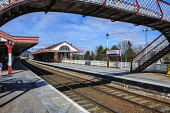 The station at Aviemore, Highlands of Scotland. Picture Credit : Andrew Wilson / Scottish Viewpoint  Tel: +44 (0) 131 622 7174  E-Mail : info@scottishviewpoint.com  Web: www.scottishviewpoint.com This... Public 2013,spring,sunny,highland,transport,travel,travelling,rail,railway,scotrail,train,trains,platform,empty,sign,signage,gaelic,footbridge
