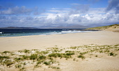 Scarista Beach with the hills of North Harris visible beyond, Harris, Outer Hebrides. Picture Credit: Richard Burdon / Scottish Viewpoint Tel: +44 (0) 131 622 7174   E-Mail : info@scottishviewpoint.co... Public 2011,summer,sunny,western,isles,island,isle,sand,sandy,coast,coastal,clouds,water,empty,mountains