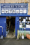 Tarbert Stores hardware shop, Tarbert on the Isle of Harris, Outer Hebrides. Picture Credit: Richard Burdon / Scottish Viewpoint Tel: +44 (0) 131 622 7174   E-Mail : info@scottishviewpoint.com This ph... 2011,summer,western,isles,island,retail,specialised,garden,gardening,tools,spade,fork,supplies,fishing,tackle,DIY