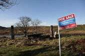 A ruined croft on the Isle of Islay for sale, Inner Hebrides. Picture Credit : Iain McLean / Scottish Viewpoint Tel: +44 (0) 131 622 7174   E-Mail : info@scottishviewpoint.com This photograph cannot b... Public 2011,winter,sunny,property,up,sign,signage,estate,agent,island