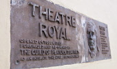 Plaque for the Theatre Royal in Dumfries - the oldest working theatre in Scotland, Dumfries and Galloway. Picture Credit : Allan Devlin / Scottish Viewpoint Tel: +44 (0) 131 622 7174   E-Mail : info@s... Public 2009,Robert,Burns,connection,rabbie,poet,bard,guild,players,sign,signage,information