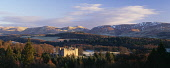 Drumlanrig Castle, Nithsdale with the Lowther Hills visible beyond, Dumfries and Galloway. Picture Credit : Allan Devlin / Scottish Viewpoint Tel: +44 (0) 131 622 7174   E-Mail : info@scottishviewpoin... Public winter,sunny,landscape,trees,hills,snow,season,romantic,building,architecture,attraction,visitor,panoramic