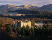 Drumlanrig Castle, Nithsdale with the Lowther Hills visible beyond, Dumfries and Galloway. Picture Credit : Allan Devlin / Scottish Viewpoint Tel: +44 (0) 131 622 7174   E-Mail : info@scottishviewpoin... Public winter,sunny,landscape,trees,hills,snow,season,romantic,building,architecture,attraction,visitor