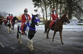 The Santa Ride through Lanark on 18th December pictured at the Scottish Equestrian Centre, Lanark, South Lanarkshire.   Picture Credit : Andrew Wilson / Scottish Viewpoint Tel: +44 (0) 131 622 7174... Public 2011,winter,event,snow,cold,horse,horses,suit,costume,ride,rider,riders