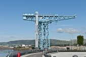 The Titan Crane on site of John Browns Shipyard by the River Clyde, Clydebank, West Dunbartonshire. Picture Credit : D. G. Farquhar / Scottish Viewpoint Tel: +44 (0) 131 622 7174   E-Mail : info@scott... Public summer,sunny,water,walking,regeneration,development,attraction,visitor,ship,building,shipbuilding