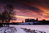 Looking over a frozen Linlithgow Loch to Linlithgow Palace and St Michael's Church at sunrise, Linlithgow, West Lothian. Picture Credit : David Queenan / Scottish Viewpoint  Tel: +44 (0) 131 622 7174... Public 2010,winter,snow,atmospheric,frozen,ice,historic,scotland,attraction,ruin,ruins,religion,spire,dawn