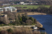 Duddingston Loch and Duddingston Kirk viewed from Holyrood Park, Edinburgh Picture Credit : Ian Macrae Young / Scottish Viewpoint  Tel: +44 (0) 131 622 7174  E-Mail : info@scottishviewpoint.com  Web:... Public winter,sunny,water,religion,playing,fields,holy,rood,high,school