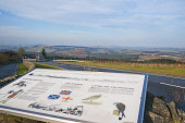 Looking north from the Scottish border at Carter Bar on the A68, Scottish Borders. Picture Credit : D Barnes / Scottish Viewpoint  Tel: +44 (0) 131 622 7174  E-Mail : info@scottishviewpoint.com  Web:... Public 2011,autumn,sunny,road,lorry,transport,sign,signage,information,board