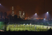 Football pitches at Grangemouth, Central Region. Picture Credit : D Barnes / Scottish Viewpoint  Tel: +44 (0) 131 622 7174  E-Mail : info@scottishviewpoint.com  Web: www.scottishviewpoint.com This pho... Public 2012,winter,evening,night,play,playing,people,sport,pitch,floodlit,floodlights,petro,chemical,petrochemical,oil,refinery