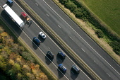 An aerial view of traffic on the M74, Scottish Borders. Picture Credit : Jason Baxter / Scottish Viewpoint  Tel: +44 (0) 131 622 7174  E-Mail : info@scottishviewpoint.com  Web: www.scottishviewpoint.c... Public 2008,autumn,sunny,transport,dual,carriageway,cars,lorry,pattern