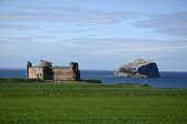 Tantallon Castle, with a view beyond to the Bass Rock, East Lothian. Picture Credit : Chris Robson / Scottish Viewpoint  Tel: +44 (0) 131 622 7174  E-Mail : info@scottishviewpoint.com  Web: www.scotti... Public 2012,summer,sunny,firth,forth,historic,scotland,lighthouse,ruin,ruins,visitor,attraction,fields,coast,coastal
