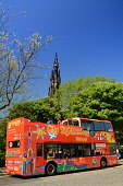 A City Sightseeing bus on Waverley Bridge with the Scott Monument visible behind, Edinburgh. Picture Credit : Neil Sinclair / Scottish Viewpoint  Tel: +44 (0) 131 622 7174  E-Mail : info@scottishviewp... Public 2012,summer,sunny,city,double,decker,open,topped,attraction,visitor,tourist,tourists,people