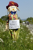 Home made scarecrow at the side of  the road, warning of children playing, Dumfries and Galloway. Picture Credit : Allan Devlin / Scottish Viewpoint  Tel: +44 (0) 131 622 7174  E-Mail : info@scottishv... 2012,summer,sunny,sign,signage,homemade,car,child,play,countryside,busy,free,range,danger