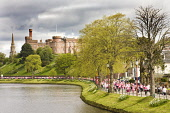 The Race for Life along the banks of the River Ness with Inverness Castle visible beyond, Highlands of Scotland.  Picture Credit : Laurence Leech / Scottish Viewpoint  Tel: +44 (0) 131 622 7174  E-Mai... Public 2010,spring,sunny,building,architecture,water,highland,city,cancer,research,fund,raising,people,crowd,crowds,charity
