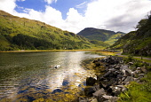 Loch Hourn, Highlands of Scotland. Picture Credit : Laurence Leech / Scottish Viewpoint  Tel: +44 (0) 131 622 7174  E-Mail : info@scottishviewpoint.com  Web: www.scottishviewpoint.com This photograph... Public 2011,summer,sunny,hills,clouds,water,remote,dinghy,knoydart