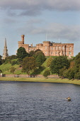 Fishing in the River Ness with Inverness Castle beyond, Highlands of Scotland.  Picture Credit : Laurence Leech / Scottish Viewpoint  Tel: +44 (0) 131 622 7174  E-Mail : info@scottishviewpoint.com  We... Public 2009,autumn,sunny,building,architecture,water,highland,city,angler,cast,casting,waders