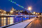 Ness Bridge across the River Ness with the castle visible beyond, in the centre of Inverness, Highlands of Scotland. Picture Credit : Ross Graham / Scottish Viewpoint  Tel: +44 (0) 131 622 7174  E-Mai... Public 2011,winter,dusk,night,city,floodlit,water,flow,snow,atmospheric,xmas,christmas,decorations