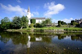 Comrie Community Centre in a converted church, Comrie, Perthshire. Picture Credit : Neil Sinclair / Scottish Viewpoint   Tel: +44 (0) 131 622 7174  E-Mail : info@scottishviewpoint.com  This photograph... Public 2011,summer,sunny,village,river,earn,water,reflection