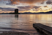Castle Stalker at sunset with a view to the mountains of Morvern beyond, near Port Appin, Argyll. Picture Credit : Allan Coutts / Scottish Viewpoint  Tel: +44 (0) 131 622 7174  E-Mail : info@scottishv... Public 2012,spring,west,coast,coastal,tranquility,isle,island,islet,slipway,jetty,clouds,building,heritage,atmospheric,silhouette