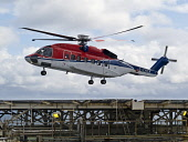 A Sikorsky S92 helicopter from Aberdeen carrying offshore oil workers arrives on an oil platform in the North Sea. Picture Credit : Allan Coutts / Scottish Viewpoint  Tel: +44 (0) 131 622 7174  E-Mail... Public 2012,summer,rig,gas,production,industry,industrial,helideck