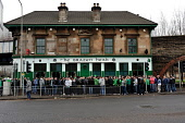 Celtic supporters gather ouside the Brazen Head pub in Gorbals prior to the Scottish Co-operative League Cup Final at Hampden against Rangers, Glasgow. 20.03.11 Picture Credit : Tony Clerkson / Scotti... Public 2011,spring,football,sport,supporting,supporters,people,crowd,public,house,bar,drink,drinking,old,firm