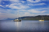 Yachts anchored on Loch Ness near to Dores, Highlands of Scotland. Picture Credit : Laurence Leech / Scottish Viewpoint   Tel: +44 (0) 131 622 7174  E-Mail : info@scottishviewpoint.com  This photograp... Public 2012,summer,sunny,boat,yacht,sailing,activity,Caledonian,Canal,British,Waterways,Nessie,Great,Glen,water,hills,highland