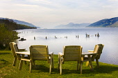 Seats at the Dores Inn looking out over Loch Ness, Dores, Highlands of Scotland. Picture Credit : Laurence Leech / Scottish Viewpoint   Tel: +44 (0) 131 622 7174  E-Mail : info@scottishviewpoint.com... Public 2012,summer,sunny,Caledonian,Canal,British,Waterways,Nessie,Great,Glen,water,hills,highland