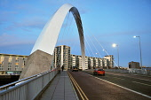 The Clyde Arc (Squinty Bridge) over the River Clyde at dusk, west of the city centre of Glasgow.  Picture Credit : Tony Clerkson / Scottish Viewpoint   Tel: +44 (0) 131 622 7174  E-Mail : info@scottis... Public 2010,autumn,architecture,urban,buildings,landmark,light,modern,place,lights,atmospheric,engineering
