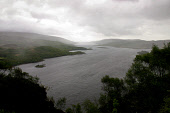 Looking down the Kyles of Bute from the slopes of Beinn Bhreac near Tighnabruaich. The isle of Bute is in the photograph top right.  Photograph � Colin McPherson, 25/05/02. Tel. +44 (0)1968 661644 or... Colin McPherson