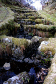 Low water reveals the detail in a salmon ladder on the Torboll river, which empties into Loch Fleet on Sutherland's east coast.  Photograph � Colin McPherson, 10/04/02. Tel. +44 (0)1968 661644 or 0783... Colin McPherson
