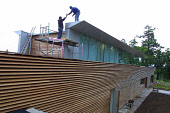 As part of the ongoing upgrading of facilities, workers put the finishing touches to the roof of the new visitor centre at Mount Stuart, the historic seat of the Marquis of Bute on the Scottish island... Colin McPherson