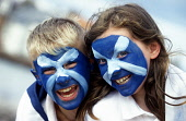 TWO YOUNG CHILDREN WITH SALTIRES PAINTED ON THEIR FACES,  VOICE THEIR PATRIOTIC SUPPORT. PIC: ADAM ELDER/SCOTTISH VIEWPOINT  Tel: +44 (0) 131 622 7174 Fax: +44 (0) 131 622 7175 E-Mail : info@ scottish... SALTIRE,FLAG