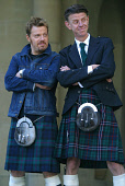 EDINBURGH, SCOTLAND, UNITED KINGDOM: Star Eddie Izzard joins director Alex Cox, wearing kilts, at a photocall to celebrate the world premiere of their new film entitled 'Revengers Tragedy' which debut... Colin McPherson