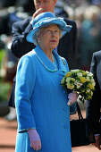 GLASGOW, SCOTLAND, UK: The Queen watches a fly-past by RAF Tornadoes over the city's George Square on the first day of her 1000-mile, seven day Golden Jubilee tour of Scotland. Earlier the Queen atten... Colin McPherson