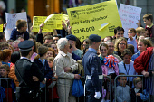 GLASGOW, SCOTLAND, UK: A protest by anti-Royalists being staged as the Queen arrives in the city's George Square on the first day of her 1000-mile, seven day Golden Jubilee tour of Scotland. Earlier t... Colin McPherson