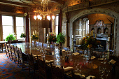 Skibo Castle, Dornoch, Sutherland, Scotland: The main Dining Room at the Castle, which houses the members-only Carnegie Club.  Photograph � Colin McPherson, 09/04/02. Tel. +44 (0)1968 661644 or 07831... Colin McPherson