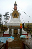 Craftsmen working on the building of a stupa, or shrine, at the Samye Ling Bhuddist monastery in Dumfries & Galloway. PIC:COLIN MCPHERSON/ SCOTTISH VIEWPOINT Tel: +44 (0) 131 622 7174   Fax: +44 (0) 1... PUBLIC, NMR