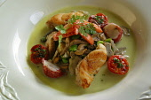 A meal served at the The Peat Inn, Fife: Monkfish and local lobster with wild mushroom, artichoke and a broad bean sauce. 25/02/03 PIC:COLIN MCPHERSON/ SCOTTISH VIEWPOINT Tel: +44 (0) 131 622 7174   F... PUBLIC, NMR RESTAURANT,FOOD
