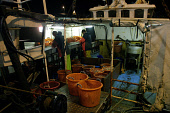 EYEMOUTH, SCOTLAND, UK: Fishermen sorting their catch on a trawler as it arrives at the port of Eyemouth on Scotland's east coast after fishing in the North Sea for cod, haddock, whiting and prawns. P... Colin McPherson