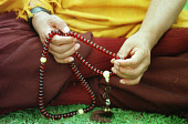 Story by Jean West for Monday 30/09/02. *NO COPYING/ARCHIVING OF THIS PHOTOGRAPH PERMITTED: A monks and his beads at the Holy Island retreat off Arran, where 12 women from around the world are going i... Colin McPherson