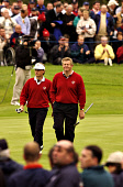 COLIN MONTGOMERIE AND BERNARD LANGER PLAYING IN THE RYDER CUP AT THE DE VERE BELFRY, ENGLAND. 27.09.02 PIC: FRANK PETERS/SCOTTISH VIEWPOINT Tel: +44 (0) 131 622 7174   Fax: +44 (0) 131 622 7175 E-Mail... GOLF,SPORT,GOLFER