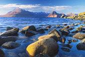 LOOKING ACROSS LOCH SCAVAIG FROM ELGOL TO THE ROCKY OUTLINE OF THE CUILLIN MOUNTAINS, THE ISLE OF SKYE, INNER HEBRIDES. PIC: DONALD MACSWEEN/SCOTTISH VIEWPOINT  Tel: +44 (0) 131 622 7174  Fax: +44 (0)... BARNACLES,WATER,SUNNY,SUMMER,ROCKS,MUNRO,MOUNTAIN,ISLAND,FORESHORE,CUILLINS,BLACK