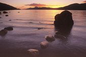 LOOKING DOWN THE LENGTH OF LOCH NESS FROM THE BEACH AT DORES, PHOTOGRAPHED AT SUNSET, HIGHLAND. PIC: DONALD MACSWEEN/SCOTTISH VIEWPOINT  Tel: +44 (0) 131 622 7174  Fax: +44 (0) 131 622 7175  E-Mail :... ATMOSPHERIC,WATER,ROCKS,ROCK,DRAMATIC,CALM